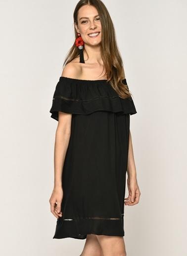 Loves You Carmen Yaka Şerit Nakışlı %100 Viskon Elbise Siyah